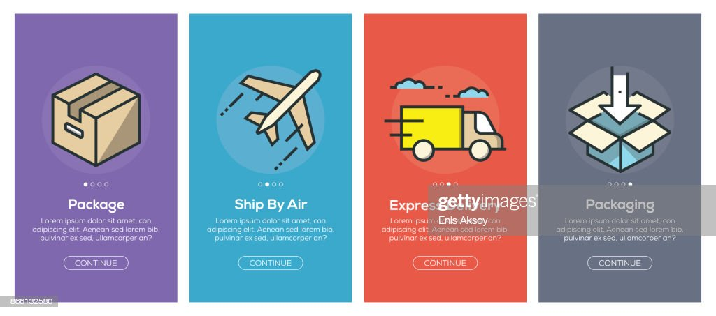 Onboarding app screens and flat line delivery web icons for mobile apps