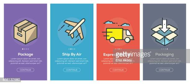 onboarding app screens and flat line delivery web icons for mobile apps - shipping stock illustrations