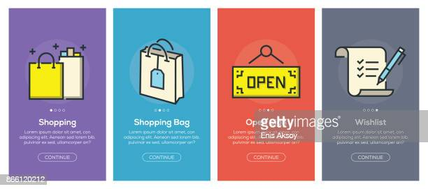Onboarding app screens and flat line e-commerce web icons for mobile apps
