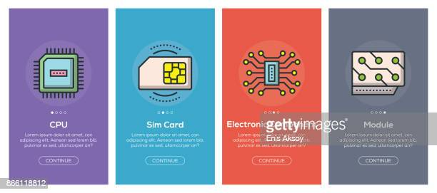 onboarding app screens and flat line electronics web icons for mobile apps - computer chip stock illustrations