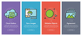 Onboarding app screens and flat line images web icons for mobile apps