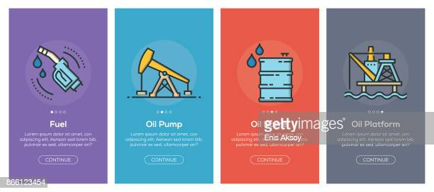 onboarding app screens and flat line oil industry web icons for mobile apps - oil pump stock illustrations, clip art, cartoons, & icons