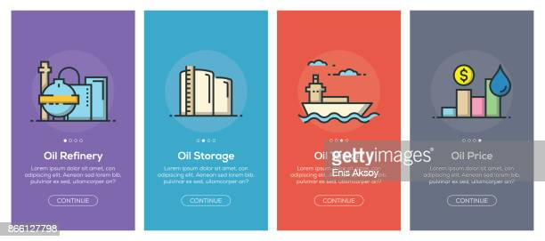 onboarding app screens and flat line oil industry web icons for mobile apps - oil tanker stock illustrations, clip art, cartoons, & icons