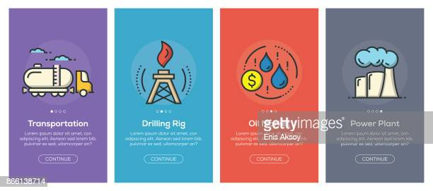 Onboarding app screens and flat line oil industry web icons for mobile apps