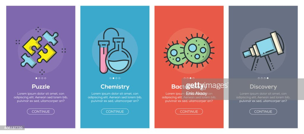 Onboarding app screens and flat line science web icons for mobile apps : stock illustration
