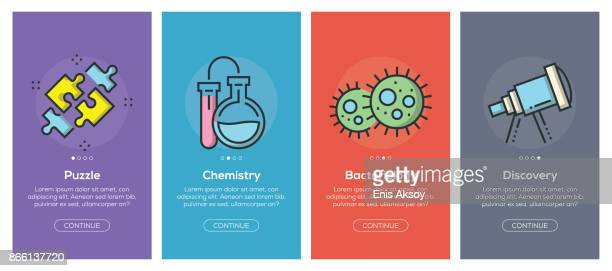 Onboarding app screens and flat line science web icons for mobile apps
