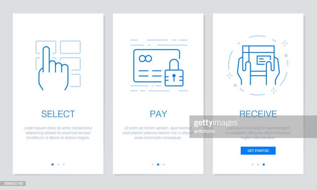 Onboarding app screens in shopping online concept. Modern and simplified vector illustration walkthrough screens template for mobile apps.