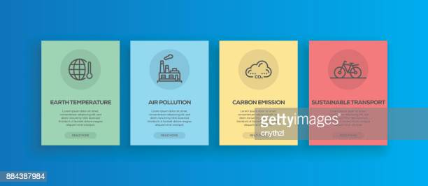 Onboarding App Screens Line Global Warming Concept Icons for Mobile Apps and Webpage.