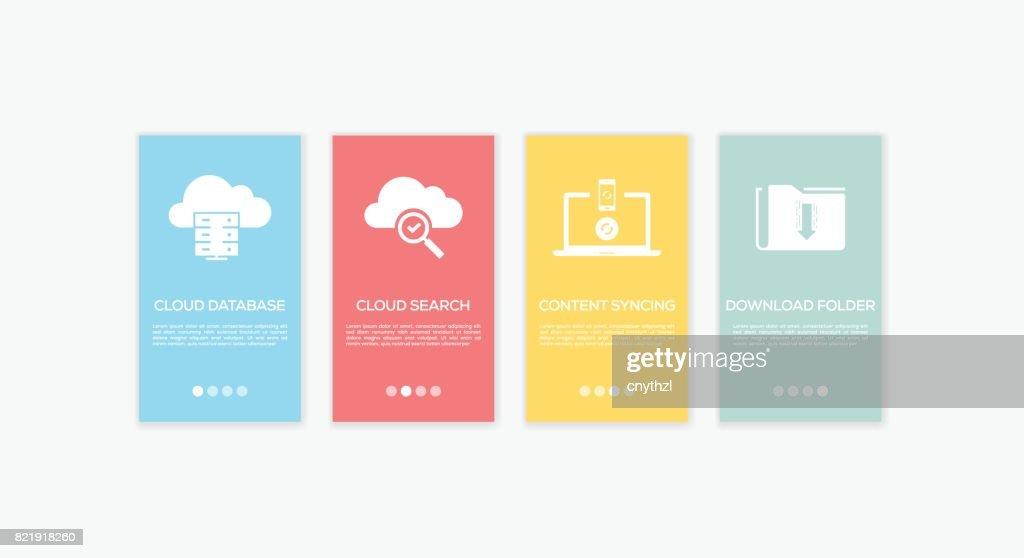 Onboarding Cloud Computing Screens. : stock illustration