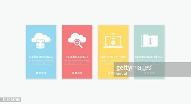 onboarding cloud computing screens. - sponsorship stock illustrations