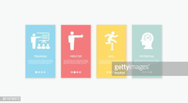onboarding coaching screens. - sport set competition round stock illustrations