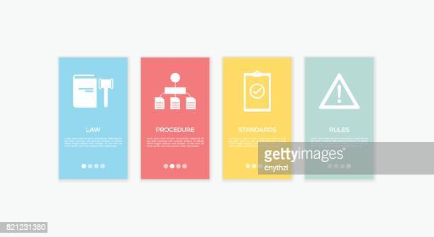onboarding compliance standards screens. - rules stock illustrations, clip art, cartoons, & icons