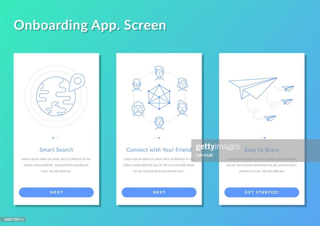 Onboarding screen walkthrough app register splashscreen vector illustration