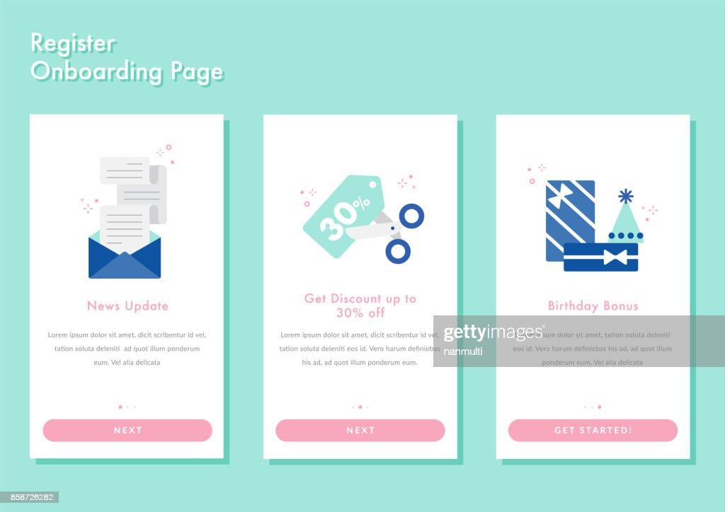 Onboarding screen walkthrough app splashscreen register login page vector illustration