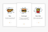 Onboarding screens design in fast food concept. Modern and simplified vector illustration, Template for mobile apps.
