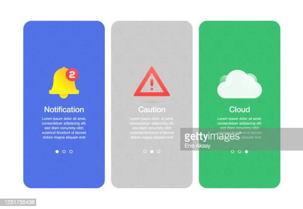 基本インターフェイスに関連するウェブサイトやモバイルアプリのオンボーディング画面 - 通知アイコン点のイラスト素材/クリップアート素材/マンガ素材/アイコン素材