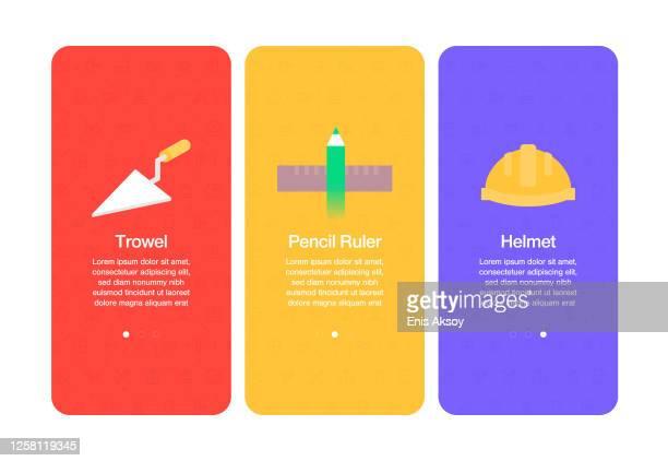 onboarding-bildschirme für websites und mobile apps im zusammenhang mit dem bau - schieblehre stock-grafiken, -clipart, -cartoons und -symbole