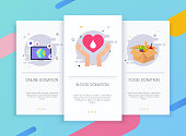 Onboarding screens user interface kit for mobile app templates concept of donation. Blood, online and food donation boxes. Concept for web banners, websites, infographics.