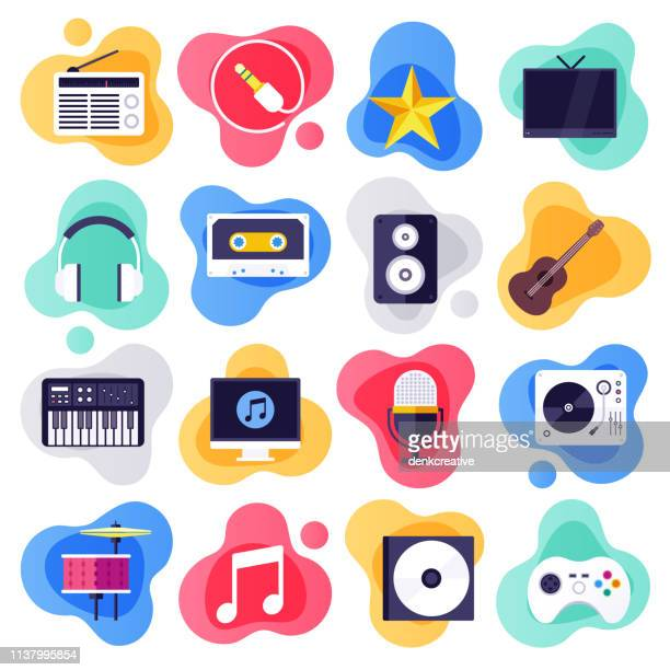 on-demand services & music industry flat liquid style vector icon set - arts culture and entertainment stock illustrations