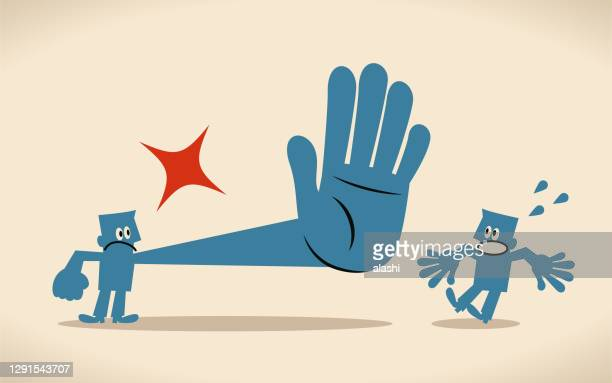 one angry man is giving a big stop gesture (rejection, refusing, saying no) to another man - refusing stock illustrations