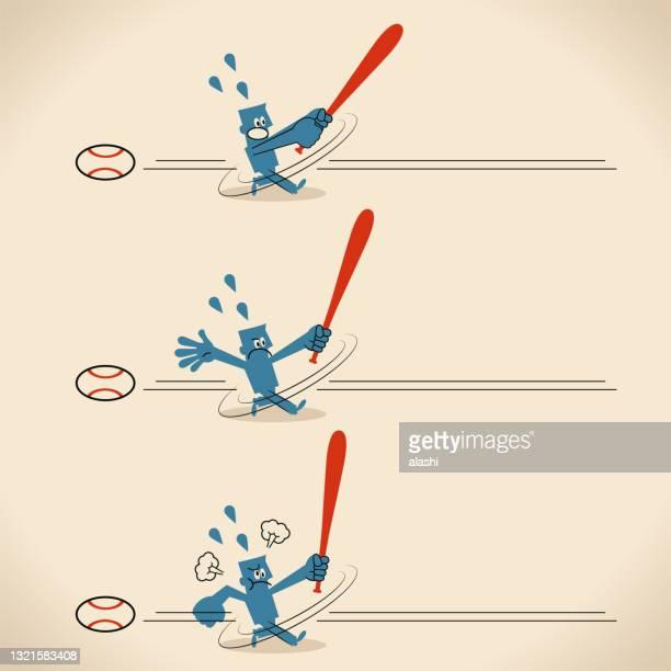 ilustraciones, imágenes clip art, dibujos animados e iconos de stock de un jugador de béisbol (base, bateador) se ponchó 3 veces - ponche strike de béisbol