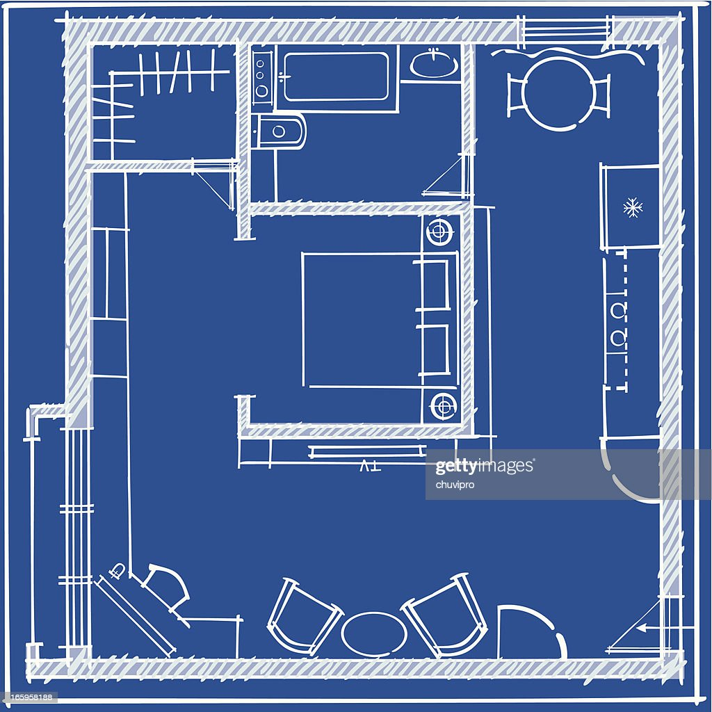 One Bedroom Apartment Blueprint Top Plan High Res Vector Graphic Getty Images