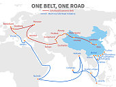 One belt - one road chinese modern silk road. Economic transport way on world map vector illustration