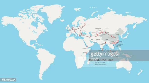 21 世紀の地図で 1 つのベルト、道路、中国戦略的投資 - ストラップ点のイラスト素材/クリップアート素材/マンガ素材/アイコン素材