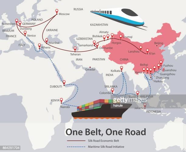Ein Gürtel, eine Straße, chinesische strategische Investition in das 21. Jahrhundert-Karte.