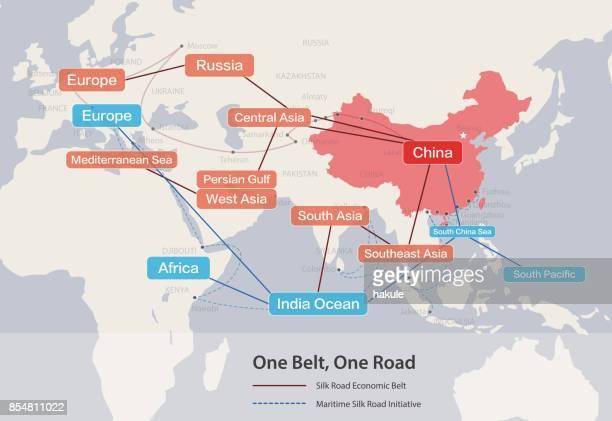 1 つベルト、道路、中国の戦略的投資 21 世紀の地図。 - シルクロード点のイラスト素材/クリップアート素材/マンガ素材/アイコン素材