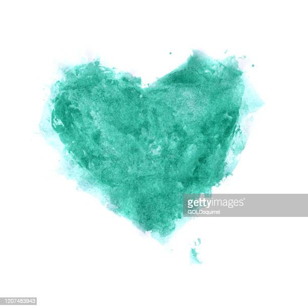 one big green watercolor heart - vector illustration with hand painted messy uneven irregular ragged heart shape in the middle of white paper background - card design full of details - irregular texturizado stock illustrations