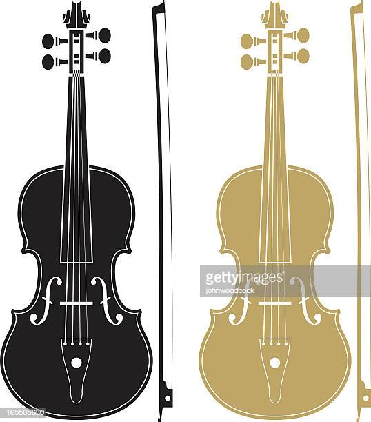 one black and one gold violin with matching bows - violin stock illustrations, clip art, cartoons, & icons