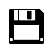 one black floppy disk icon isolated on white for web,app and design,vector illustration