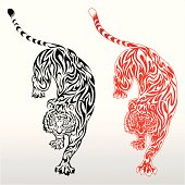 One black tiger tattoo design and a red tiger tattoo design