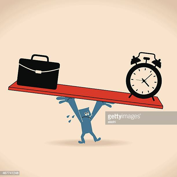 One businessman balance a seesaw with clock and briefcase