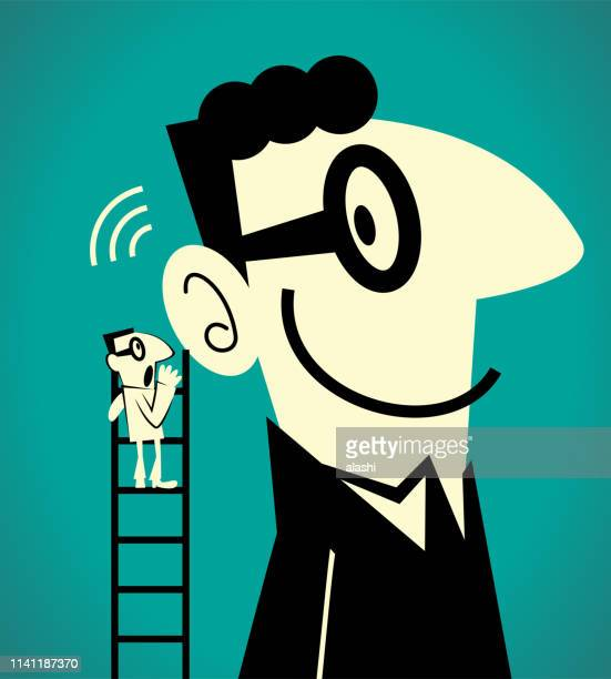 one businessman climbing up a ladder and whispering the message to a giant man - ear stock illustrations