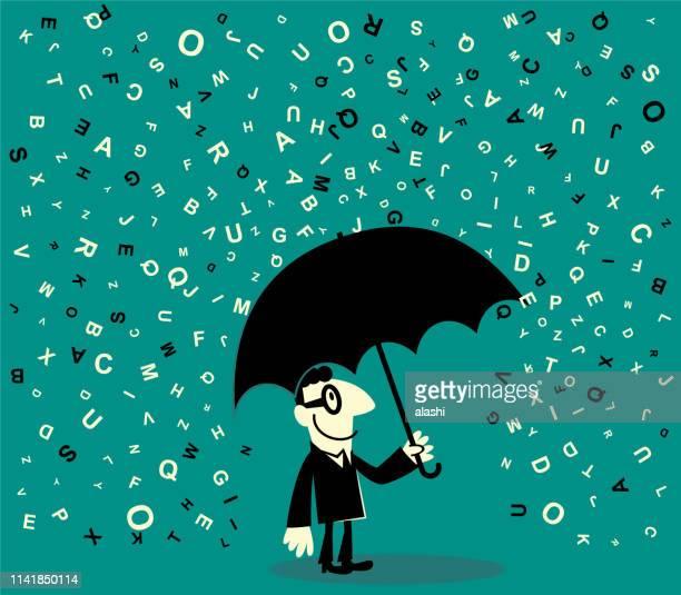ilustrações, clipart, desenhos animados e ícones de um homem de negócios que prende um guarda-chuva que evita muitos alfabeto de queda - texto