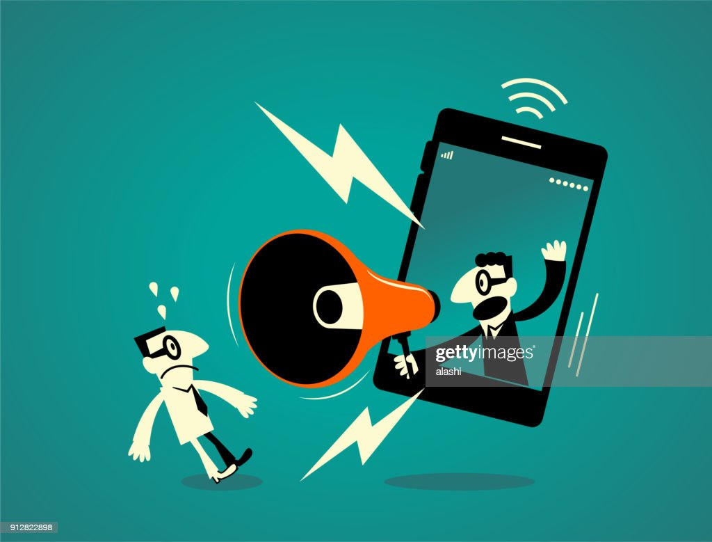 One businessman inside of a smart phone (mobile phone) with megaphone, another business man getting a shock