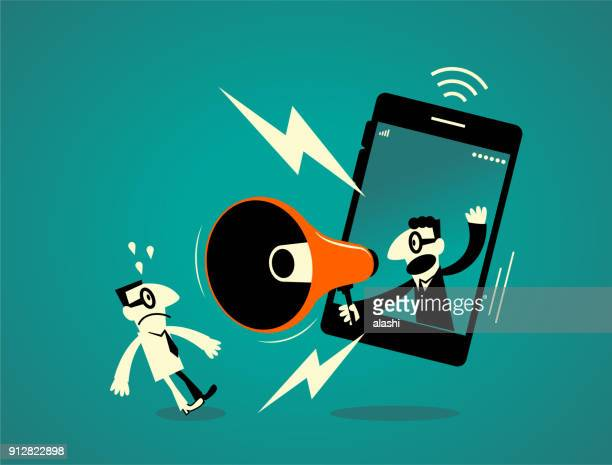 one businessman inside of a smart phone (mobile phone) with megaphone, another business man getting a shock - protestor stock illustrations, clip art, cartoons, & icons