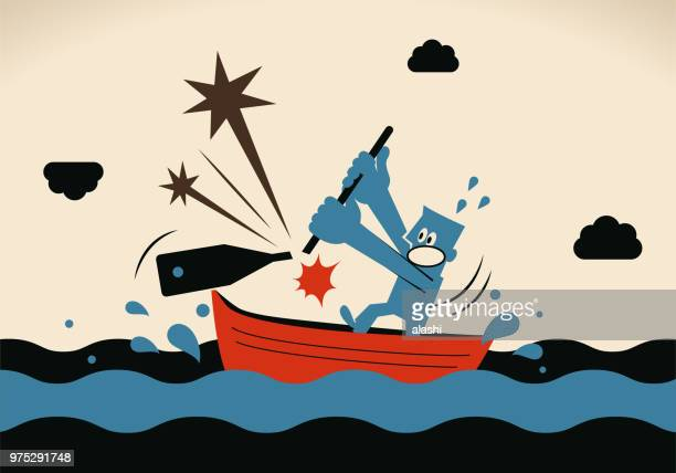 one businessman, rowing boat sailing on the ocean, his oar is breaking - bad luck stock illustrations, clip art, cartoons, & icons