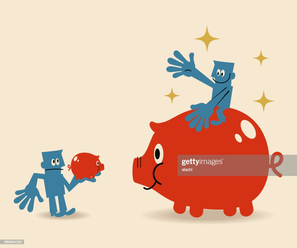 Ein Geschäftsmann sitzt auf einer großen Piggy Bank und ein weiteres hält ein kleines Sparschwein : Stock-Illustration