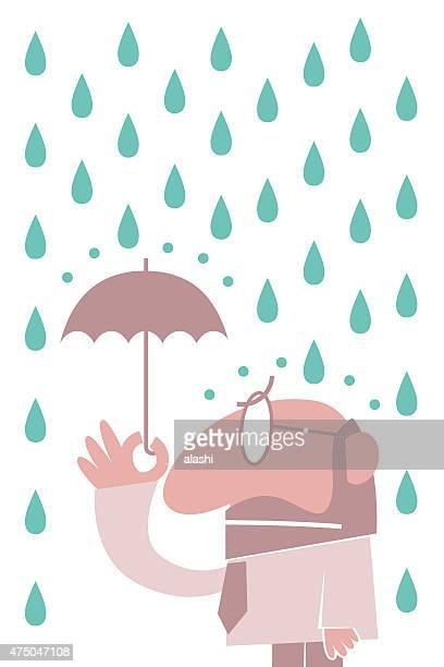 1 つのビジネスマンに、小さな傘のレイン