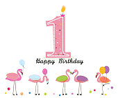 One candle. Happy first birthday candle letter. Exotic birds. Set of different poses flamingos. Colorful flamingo