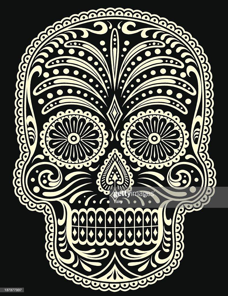 One color sugar skull vector