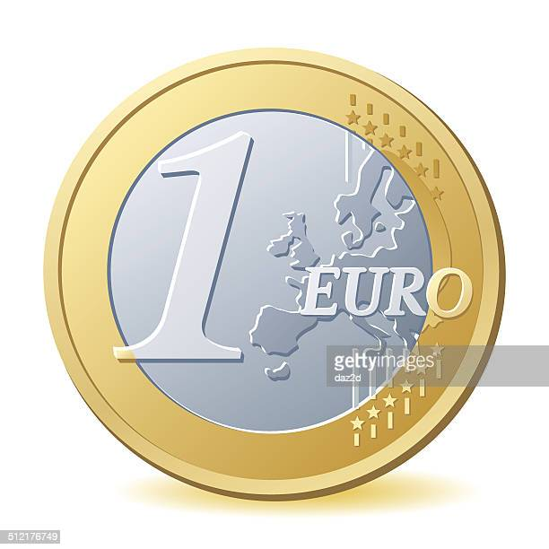 one euro coin - change stock illustrations