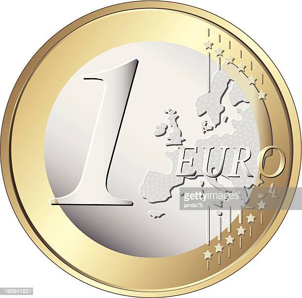 One euro coin - Vector
