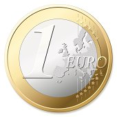 One Euro in silver and gold against white background