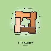 One family, flat design thin line banner
