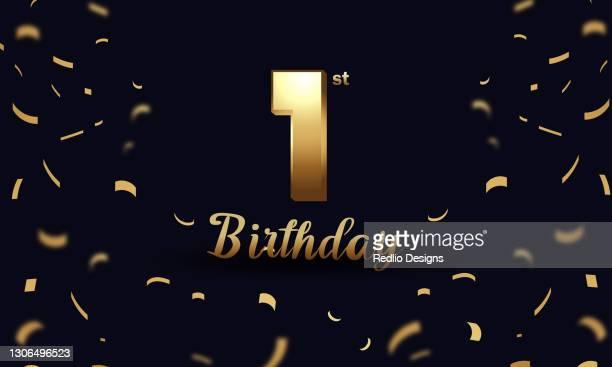 1つの最初の誕生日のお祝いの背景ベクトルイラスト - 紙テープ点のイラスト素材/クリップアート素材/マンガ素材/アイコン素材