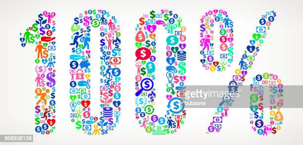 One hundred 100% Money Vector Icon Pattern